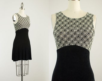 90s Vintage Black And White Lace Knit Spandex Mini Dress / Size Small