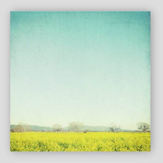 Landscape Canvas Wrap, Teal and Yellow, Canvas Wall Art, Nature Photography, Minimal Art, Lemon Yellow, Retro Wall Art, Square Canvas