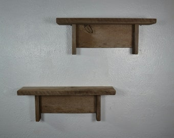 Pair of cute little reclaimed wood wall shelves 16 wide