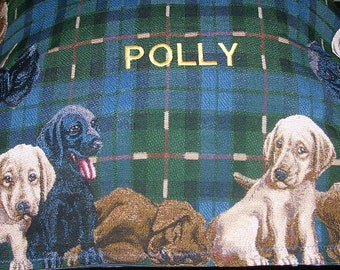 Labrador Tapestry Panel Lab Dog Puppy labs around edge of top Yellow Black Chocolate 30 inches X 40 inches to make dog bed or wall hanging