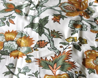 """Vintage NOS Novelty Print Chintz Fabric Salesman Sample Swatch (5) 24"""" by 25"""" // Lussky White Coolidge Palampore Border Print Rayon Cotton"""