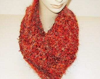 Infinity Scarf Crochet Rust Multi