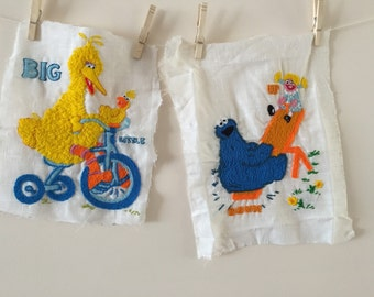 Sesame Street Embroidered Panels Big Bird Cookie Monster