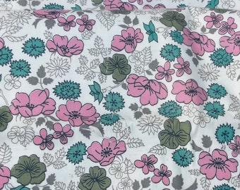 "Vintage 30s 2 yds  x 34"" Cotton Fabric Pink Turquoise Taupe Avocado Liberty of London Floral on Crisp White Pillow Case Quilt Tablecloth"