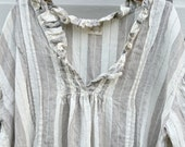 Linen Dress Soft Grey Stripe  One size Fits Most.