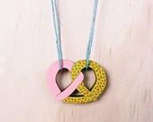 Pretzel Necklace . Wooden Necklace . Bakery . Boulangerie . Bread Necklace