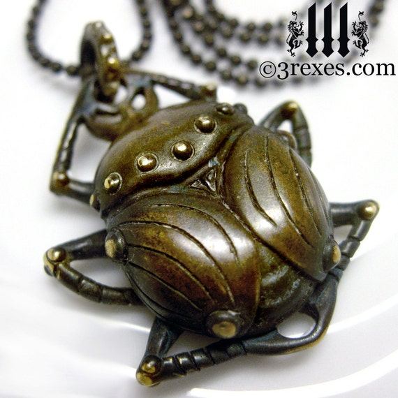 Dark Brass Scarab Beetle Necklace Egyptian Scarab Insect Pendant