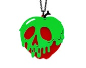 "Poison Apple Necklace - SMALL 2"" - Snow White -  Acrylic Laser Cut Necklace"