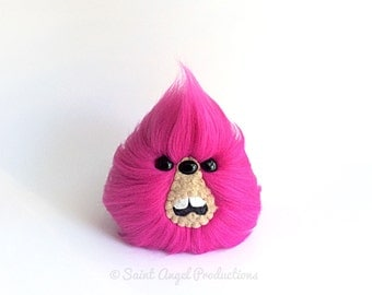 Hot Pink Monster Furry Blob Plush, Weird Fluffy Bright Fuchsia Handmade Fuzzy Plushie, READY TO SHIP