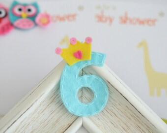 New! Set of 6pcs handmade felt crown birthday numbers, Birthday party!--#6 (FT1053)