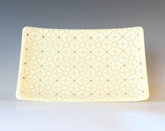 Modern White on Ivory Fused Glass Dish Handcrafted Plate Trinket 22K Gold Patterned Wedding