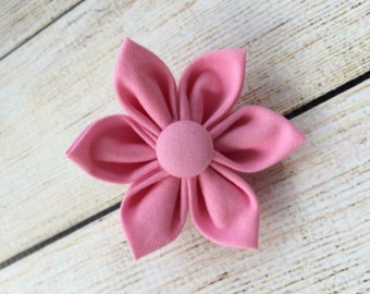 Fabric Flower Clip with Covered Button