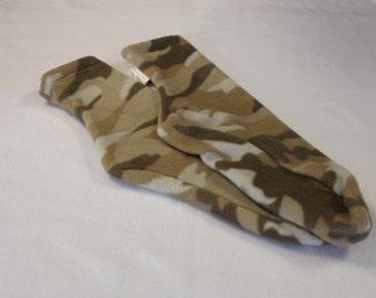 Men's Polar Fleece Socks or Slippers Tan Camo