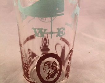 Vintage SWANKY SWIG Style 1950's Era Juice Glass with Aqua and Brown Antique Print Design