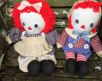 Pair of Vintage Hand Made Raggedy Ann and Andy Dolls