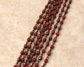 Czech Rosary Chain, 4 MM Coral Marble Fire Polished Round Beads, Antique Copper Link, 1 Foot, C470