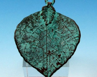 Lime Leaf Pendant, Green Patina, Greek Casting, M384