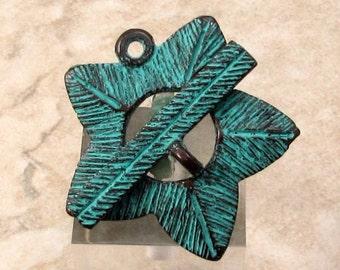 Flower Toggle Clasp, Green Patina, Greek Mykonos M420