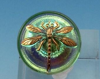 Czech Glass Button, Dragonfly, Green, 18mm, With Pendant Converter, C354