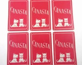 Vintage Canasta Playing Cards with Scottie or Scotty Dog and Red Background Set of 6