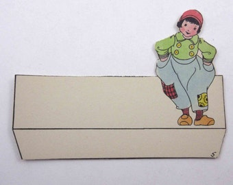 Vintage Unused Die Cut Art Deco Place Card with Cute Little Dutch Boy Patched Pants Hat