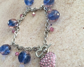 HEART CRYSTAL purple pink glads faceted beads austrian bling charm bracelet toggle closure silver chain