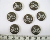 28 pcs of  Laser Engraved Scooter Button   -  18mm Dark Brown