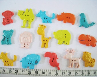 30 pcs of Novelty Button - Animal Safari - Lion Camel Elephant Hippo Rhino Giraffe Monkey Fox Moose Seal Koala Tiger Parrot
