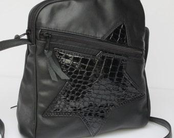On Sale LEATHER SHOULDER BAG   Black Star on Black