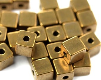 Metal Beads Cube Square Geometric Raw Brass 4mm Small Hole (20) M035