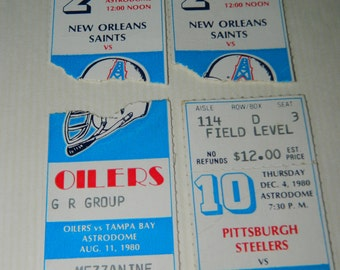 1980's Houston Oilers, New Orleans Saints, Pittsburgh Steelers, Tampa Bay Torn Ticket Stubs, Astrodome Mezzanine, Football Stubs