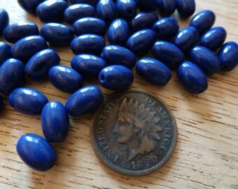 24 Vintage 8 x 5mm Dark Navy Blue Glass Beads C33