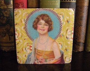 Vintage 1920's Candy Box with Frederick Manning Flapper Pin Up Small Gift Box