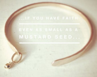 Mustard Seed Cuff Bracelet |  Inspirational cuff | Scripture jewelry | Dainty bracelet | Stacking | Whisper Cuff by Elena Grace | Christian