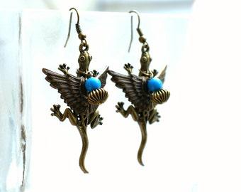 Big Flying Lizard Earrings - Winged Lizards - Electric Blue Beads