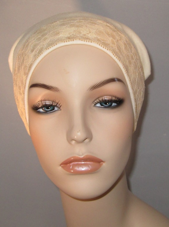 Cream Sleep Cap with Tea Color Lace Trim, Cancer Hat, Hair Loss, Lounge Cap, Chemo Hat