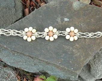 CUSTOM Creme Triple Daisy Flower  Hemp Anklet Bracelet Choker  handmade macrame jewelry  hippie  girls  womens