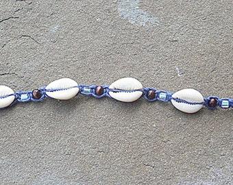 Blue Beach Party Shells Hemp  Choker Anklet handmade macrame jewelry  womens girls  hippie surfer