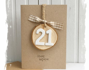 Special Birthday Card with Wooden Slice Age Keepsake