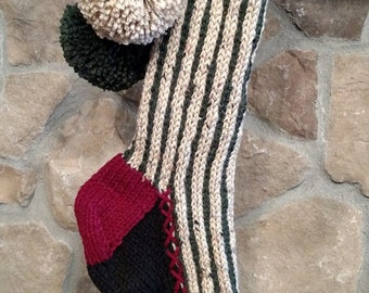 Old Fashioned Hand Knit Christmas Stocking Red Green Linen Vertical Stripe with Fir Tree Detail