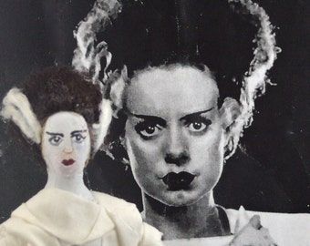 Bride of Frankenstein Gothic Doll Miniature Art Collectible