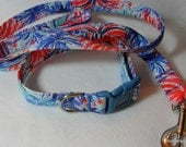Handcrafted Lilly Pulitzer Multi Feeling Sparks Fabric Dog Collar & Leash Set