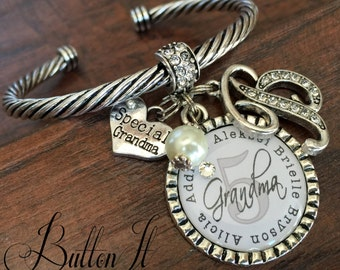 Grandma jewelry, GRANDMA bracelet, Personalized bracelet, Christmas gift, Gifts for grandma, gifts for MOM, CUFF bracelet, charm bracelet