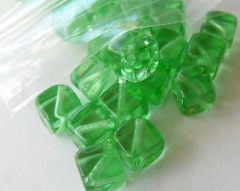 6mm Translucent Light Green Czech Cube Glass Beads (25 Pack) **1.00 Sale**