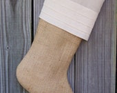 Burlap Stockings Tailored Tucks Pleats Pleated Country French Farmhouse Chic Personalized  254
