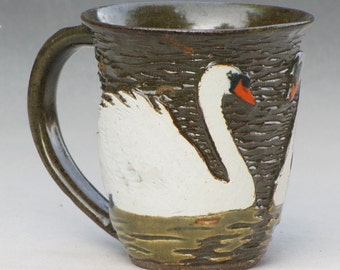 Swan Mug in Dark Stoneware with Olive Celadon Glaze 2 of 2