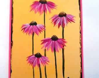 Coneflowers Card Hand Painted Coneflower Card