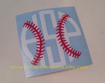 Baseball / Softball Monogram Vinyl Decal