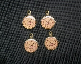 4 Vintage Syle Pocket Watch Charms Bronze Tone 32mm