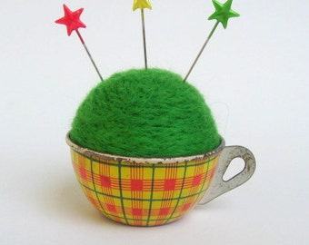 SHOP CLOSING SALE - Pin Cushion - Needle Felted - In Vintage Child's Tin Tea Cup With Saucer - Yellow, Red, And Green Plaid